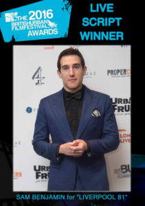 The British Urban Film Festival best script award 2016 (3/3): Sam Benjamin for 'Liverpool 81' (supported by Channel 4)